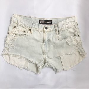 Sunbleached Destroyed Denim Cutoff Jean Shorts